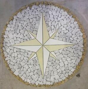 Rosoni rosone mosaico in marmo su rete per interni esterni pavimenti 90cm...