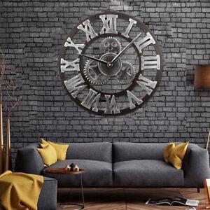 Vintage Wanduhr Uhr Analog Küchenuhr Globus Retro Römische Zahlen Ø40cm