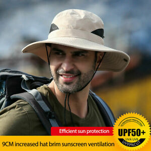 UPF50+ Mens Women Sun Hat Bucket Cargo Safari Bush Fishing Cap UK
