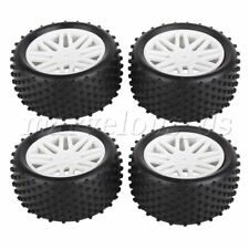4Pcs RC 1:10 Buggy Rubber Car Tires Black and White Mesh Wheel Hub