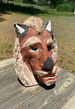 Vintage Hand Made Paper Mache Lion Mask Folk Art Halloween Masquerade Mardi Gras