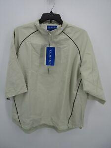Turfer Sport Mens Ivory Half Zip Lightweight Pullover Windbreaker Golf Jacket XL