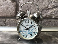 Vintage Mini Alarm Clock RAKETA USSR Blue Ship Rare Collectible SERVICED