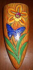 VINTAGE JAPAN  WALL POCKET CERAMIC POTTERY CONE SHAPED FLOWER BUTTERFLY DESIGN