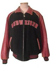 Budweiser Leather And Wool Letterman Baseball Jacket Orange And Black Size XL