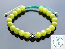 Mashan Jade Om Sterling Silver Natural Gemstone Bracelet 7-8'' Macrame Healing