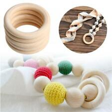 5PCS 70MM Wooden DIY Crafts Teething Rings Connectors Circles Natural Wood