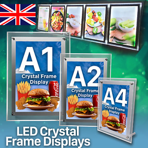 LED Crystal Frame Poster Slim Sign Display Restaurant Menu Board - A1 | A2 | A4
