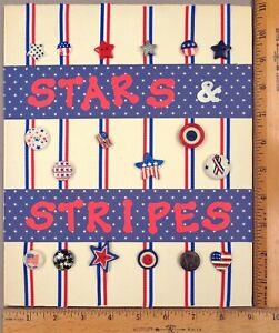 Card of 16 PATRIOTIC & AMERICAN FLAG Clothing BUTTONS, Stars & Stripes Theme
