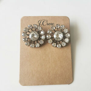 New 25mm Jcrew Crystal Stud Earrings Gift Vintage Women Party Holiday Jewelry