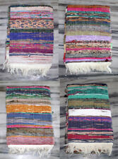 4 pcs Colourfull Hand Braided Chindi Vintage SariKilim Floor Hand Knotted