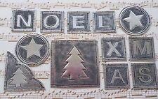 Embossed Silver Metallic Christmas Embellishment Mix: Xmas Noel Tree Star 38pcs!