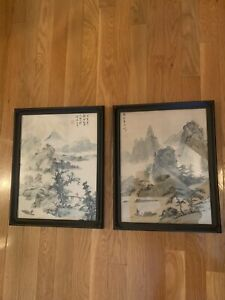Pair of Antique Chinese Landscape Watercolor Paintings on Silk