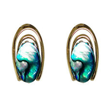 Paua Jewelry - Gold Plated Clip On Earrings (PE222)