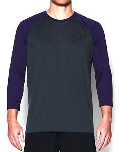 NWT Under Armour UA Baseball Exclusive ¾ Sleeve Stealth Gray/Purple 1281153-011