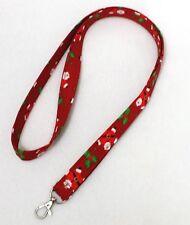 "Fabric Lanyard ID Badge Key Holder 39"" x 3/4"" Cotton Christmas Santa"