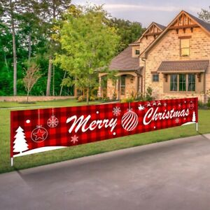 9FT Large Merry Christmas Banner Sign Santa Xmas Outdoor Indoor Decoration Home