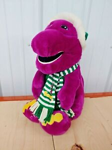 "Vintage 1992 Christmas Barney Stuffed Plush 21"" Green Santa Hat & Scarf"