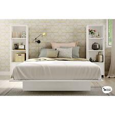 3 Piece Full Queen Size Bedroom Furniture Set Bed Platform 3-Shelf Bookcases NEW