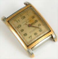 VINTAGE DEFENDER STAR WATERPROOF MILITARY DIAL SQUARE GOLD TONE WRISTWATCH !