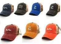 DOG MOM , CAT MOM , DOG DAD, MESH BASEBALL  CAP CAPS HAT EMBROIDERED