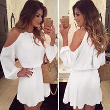 Womens Cold Shoulder Chiffon Mini Short Dress Ladies Summer Casual Holiday Party