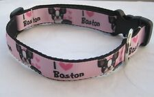 Boston terrier dog collar or lead handmade ribbon pink puppy I love my boston