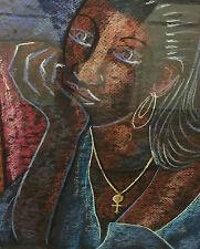 """Alix Beaujour Haitian Artist Original """"Lorrie"""" Black Americana RARE OIL PASTEL"""