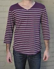 Nicht weinrot weiß gestreift Baumwolle 3/4 Ärmel V-Ausschnitt Shirt 2