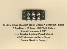 MOLEX / BEAU 15 Amp Double Row Terminal Barrier Strip Block 3 Position