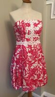 Lilly Pulitzer 50th Anniversary Jubilee Dress Print Pink White Strapless. Size 4