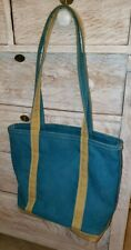 "L. L. Bean Boat & Tote Medium Bag 12"" X 16"" X 5"" Teal & Mustard"