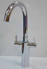 DUAL LEVER MONO KITCHEN SINK DECK SWIVEL MIXER TAP CHROME TAP 1 HOLE 1/4 TURN