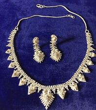 Vintage Pure Solid sterling silver Necklace & Earrings Set jewelry Made in India