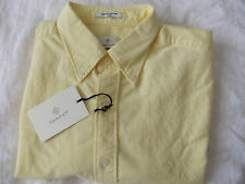 "GANT MEN'S SHIRT "" PERFECT OXFORD"" DIAMOND G  Size L Fitted  731 SOFT YELLOW  LS"