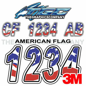American Flag Custom Boat Registration Numbers Decals Vinyl Lettering Stickers
