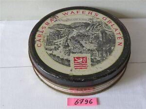 Alte Blechdose Carlsbad Wafers Oblaten Ø 190 mm Reklamedose Dose leer