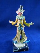 Vintage Creepy Circus Clown Collector Figurine Statue Marble Base Resin Mold GUC