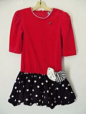 DIANE VON FURSTENBERG Girl Red Black Polka Dot Velvet Dress Bow Christmas Size 7