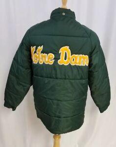 Vintage Notre Dame Fighting Irish Winter Coat Zip JC Penney 1970s Green Medium M