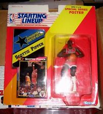 Pippen Figure SLU Starting Line Up w/Poster Chicago Bulls Rockets  toys