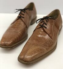 $450 BELVEDERE EXOTIC OSTRICH Cognac Whiskey Shoes Oxfords Mens Size 13