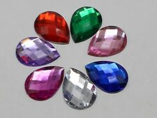 50 Mixed Color Flatback Acrylic Rhinestone Teardrop Gems 18X25mm No Hole