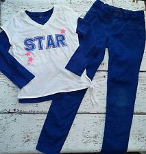 CHILDREN'S PLACE Girls Star White Layered Tee and Blue Pants 7 8 EUC