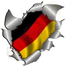 Single Metal Rip Torn Open German Flag Sticker JDM Race Car Van Boat VW Camper