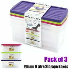 Wham Storage Boxes - 9L Pack of 3 Stacking Plastic Clear Container with Lid Shoe