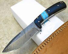 TURQUOISE / HORN Handle Damascus Fixed Blade SKINNER Knife custom leather sheath