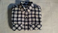 FOREVER 21 YOUNG LADIES PLAID FLANNEL LONG SLEEVE CASUAL DRESS SHIRT - SIZE S