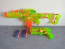 Lot Pistolets NERF TRANSLUCIDE NEON MAVERICK REV-6 + RECON CS-6 + 20 Fléchettes