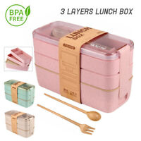 Microwave Lunch Boxes 3 Layers Wheat Straw Bento Boxes Food Storage Container